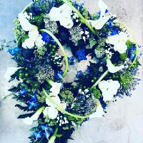 Blue & White Open Heart